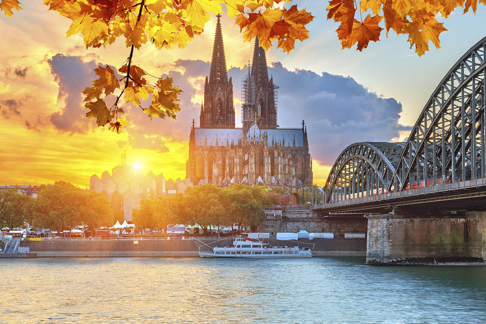 Sunset over the city of Cologne, Germany