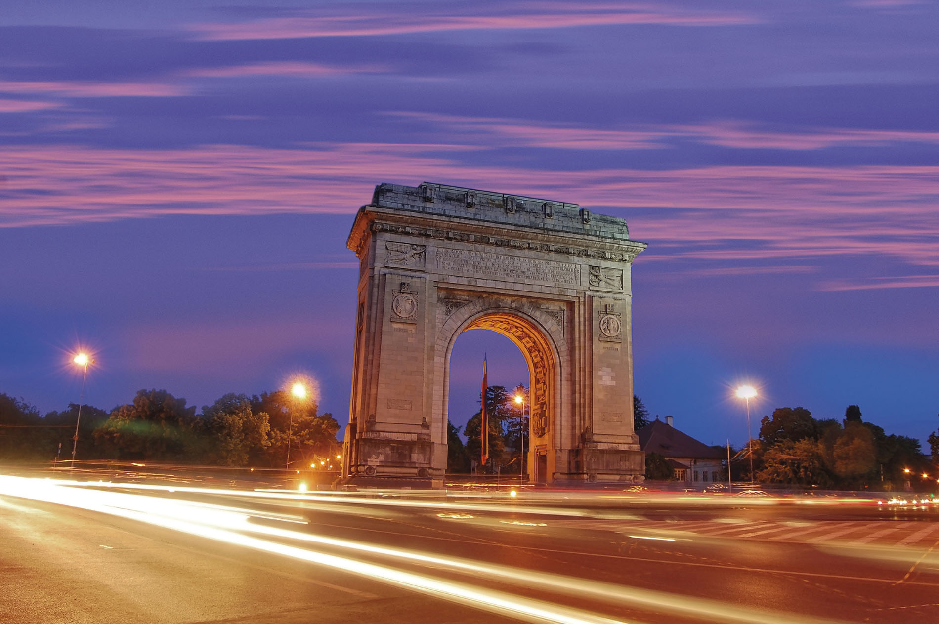 Stoic triumphal arch in Bucharest, Romania