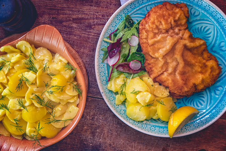 A plate of authentic wiener schnitze