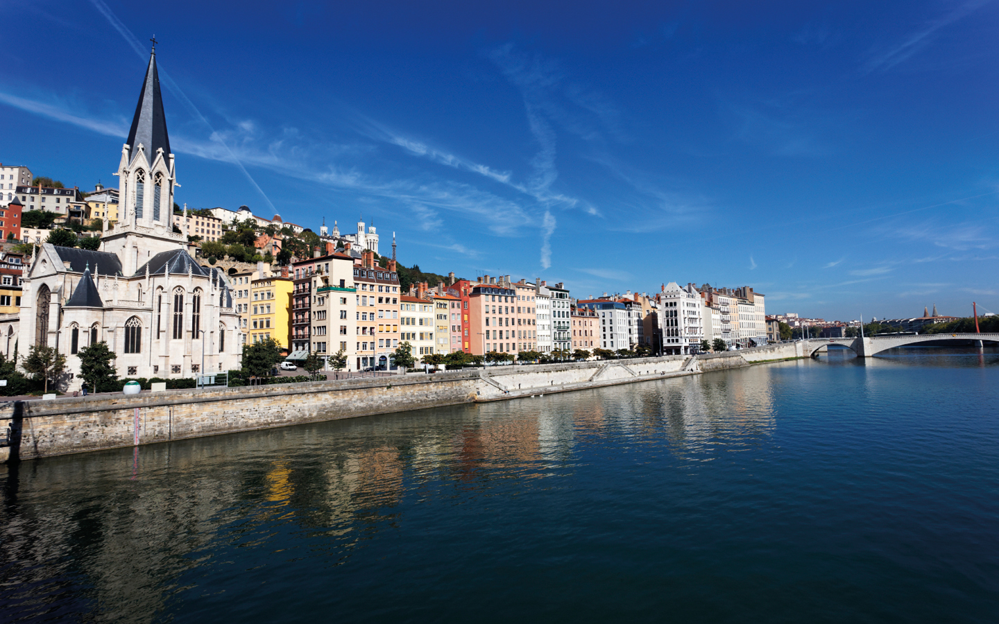 The Rhône River in Lyon, France