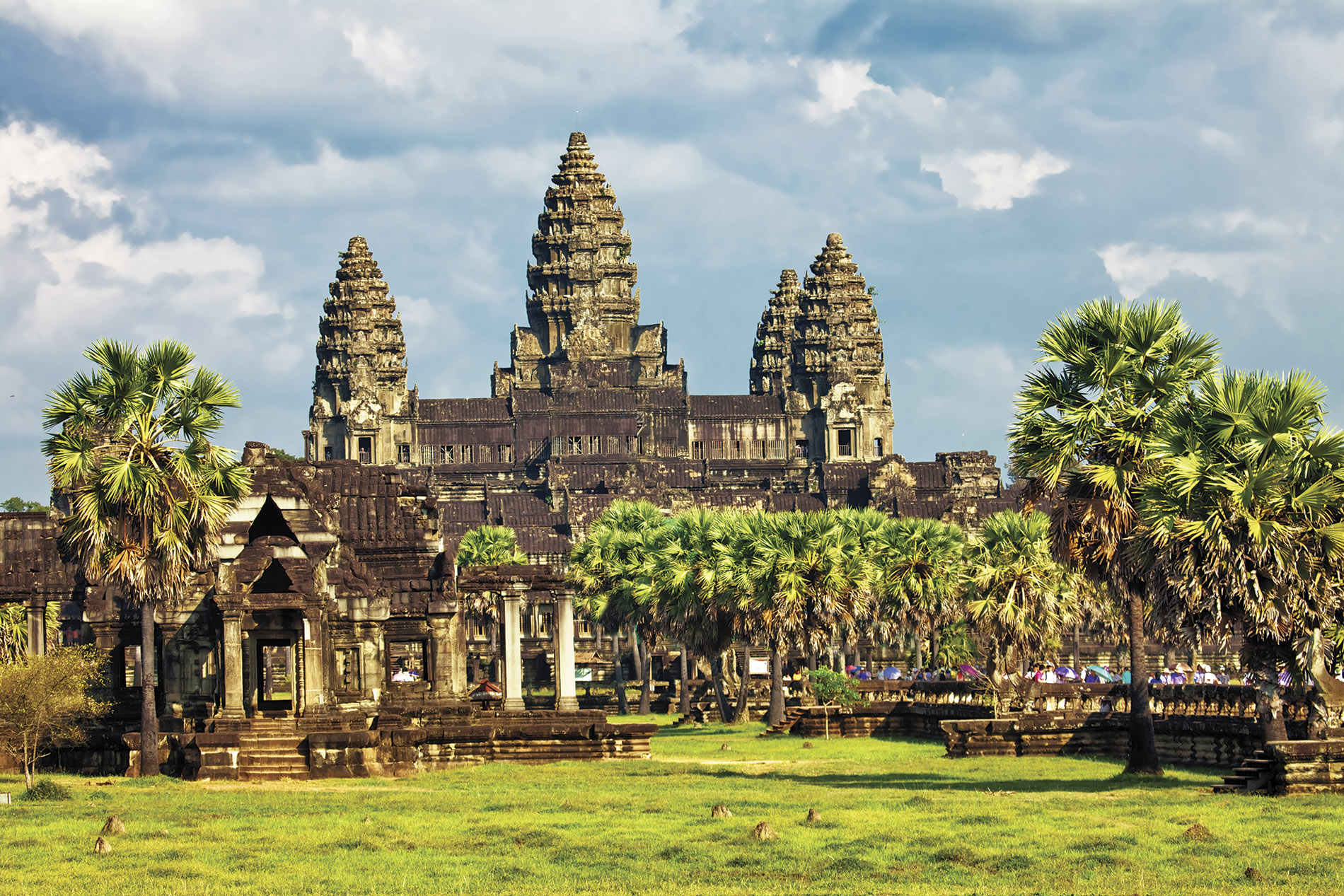 a large green field with trees in the background with Angkor Wat in the background